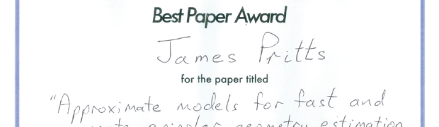 Best paper award for James Pritts